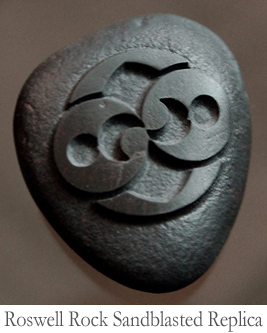 A Roswell Rock Replica by Ron Branch, relief-carved by sandblasting