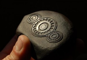 Roswell Rock style sandblasted stone carving by Ron Branch - windturbine crop formation design