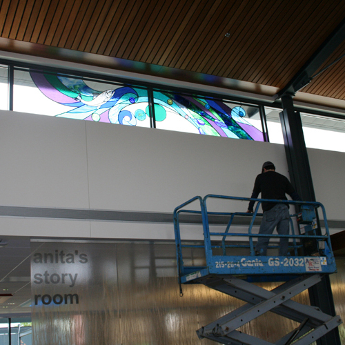 Installing Stained Glass at the Lebenon Library