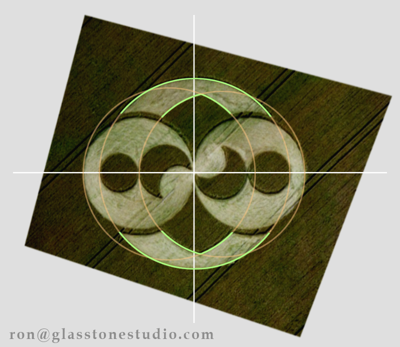 Preliminary study of the 1996 Liddington Castle Crop Circle for a more accurate stone carving, reveals the design is not symmetrical. Understanding this, I can make a more accurate diagram, and carve the 1996 Liddington Crop circle with new precision