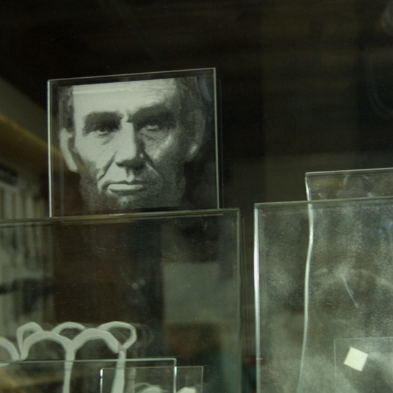 Face etched in glass - Ron Branch at Glasstone Studio in Vancouver, Washington
