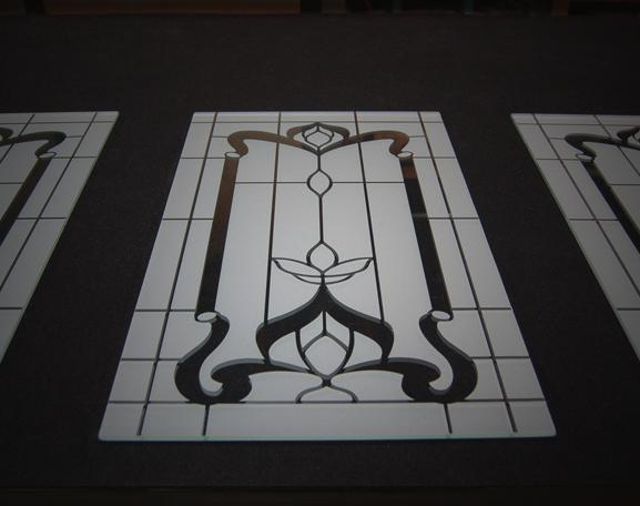 glass art in cabinet doors