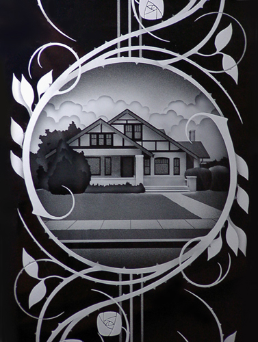 Etched glass - Ron Branch at Glasstone Studio in Vancouver, Washington
